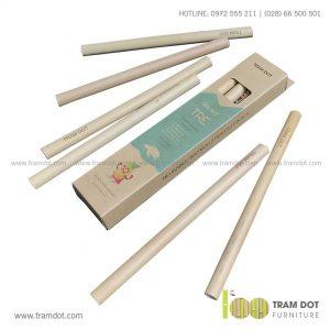 Bộ ống hút tre tự nhiên 6 cái, Pack 6 natural bamboo straws - Trăm Đốt